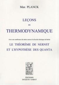 Leçons de thermodynamique : Le théorème de Nernst et l'hypothèse des quanta