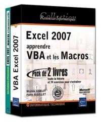 Excel 2007 : apprendre VBA et les Macros - Pack de 2 livres : toute la théorie et 74 exercices pour s'entraîner