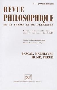 Revue philosophique, N°1, Janvier-Mars 20 : Pascal, Machiavel, Hume, Freud