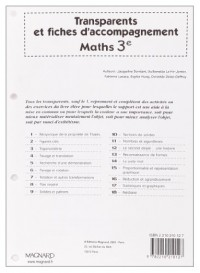 Maths 3e : Transparents et fiches d'accompagnement