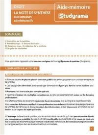 La note de synthèse aux concours administratifs
