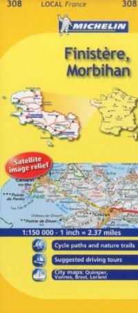 Michelin Map France: Finistre, Morbihan 308
