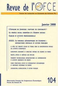 Revue de l'OFCE, N° 104, Janvier 2008 :