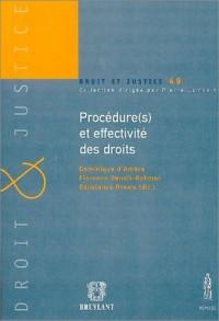 Procédure(s) et effectivité des droits : Actes du colloque des 31 mai et 1er juin 2002 organisé à la Faculté de droit de Strasbourg par l'Institut de ... et les constructions européennes (GRICE)