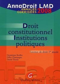 Droit constitutionnel et institutions politiques : Annales corrigées