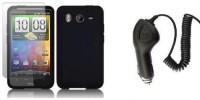 Housse silicone noire + protection d'écran + chargeur de voiture pour NOKIA X3-02 (Incompatible X3)