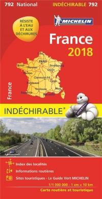 Carte France Indéchirable Michelin 2018