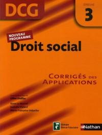 Droit social Epreuve 3 - DCG - Corrigés des applications