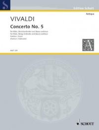 SCHOTT VIVALDI ANTONIO - CONCERTO NO 5 OP 10/5 RV 434/PV 262 Partition classique Bois Flûte traversière