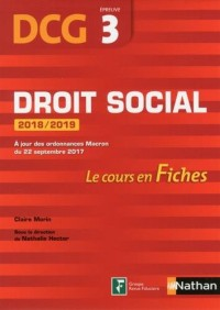DCG 3 - Droit social 2018/2019 (Fiches de cours)