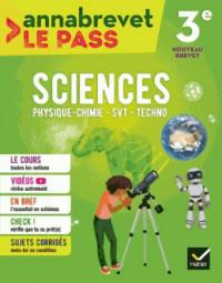 Sciences (SVT, physique-chimie, technologie) 3e brevet 2018