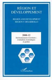 Region et developpement n.12/2000 : environnement et territoire evaluations