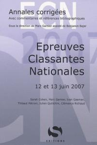 Epreuves Classantes Nationales : 12 et 13 Juin 2007