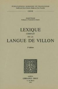 Lexique Complet De La Langue De Villon