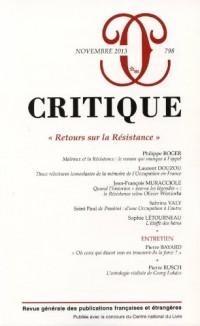 Critique, N° 798, Novembre 2013 : Retours sur la Résistance