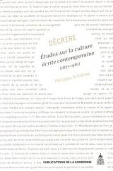 Décrire : Etudes sur la culture écrite contemporaine (1871-1981)
