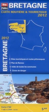 Bretagne, Carte Régionale Routière Touristique N°102. Plan du centre-ville de Rennes - Echelle : 1/200 000, avec index - Edition 2012