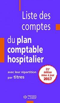 Liste des comptes du plan comptable hospitalier avec leur répartition par titres