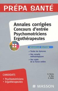 Psychomotriciens, ergothérapeutes : Annales corrigées concours d'entrée