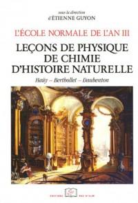 L'école normale de l'an III : Tome 3, Leçons de physique, chimie et d'histoire naturelles