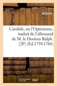 Candide  Ou l Optimisme 2p  ed 1759 1760