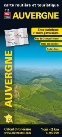Auvergne, carte régionale, routière et touristique