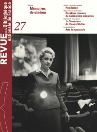 Revue de la Bibliothèque nationale de France, N° 27 : Cinéma