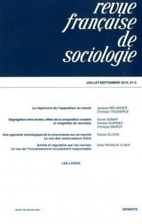 Revue française de sociologie, N° 51-3, Juillet-sep :