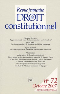 Revue française de Droit constitutionnel, N° 72 :