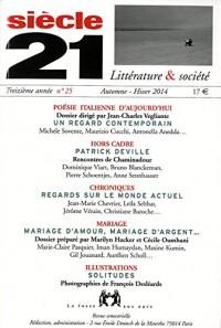 Siècle 21, N° 25, Automne-hiver 2014 : Poésie italienne d'aujourd'hui