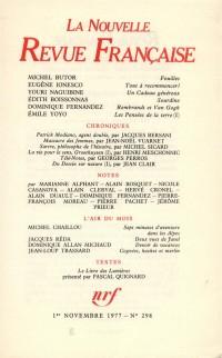 La N.R.F., numéro 298, novembre 1977