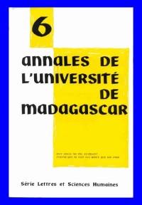 Série Lettres, annales de l'Université de Madagascar, numéros 1 à 6