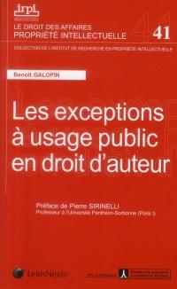 Les Exceptions a Usage Public en Droit d'Auteur No41