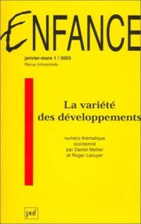 Enfance, numéro 1 - 2003 : La variété des développements