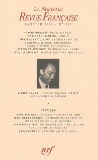 La Nouvelle Revue Française, N° 592, Janvier 2010 :