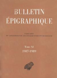 Bulletin épigraphique : Tome 11, 1987-1989