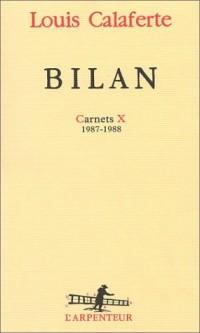 Bilan : Carnets, volume 10, 1987-1988