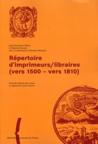 Répertoire d'imprinmeurs-librraires, 1500-1810