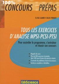 Tous les exercices d'Analyse MPSI-PCSTI-PTSI