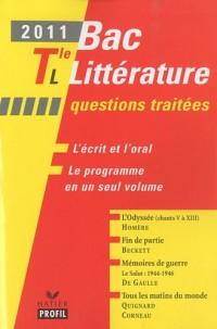 Profil Bac Littérature 2011 Tle L Questions traitées