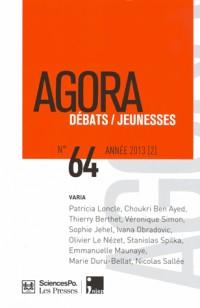 Agora Débats/Jeunesse, N° 64/2013 (2) :