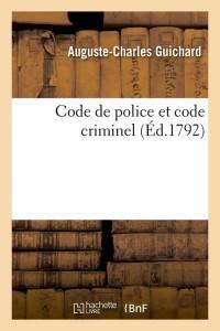 Code de Police et Code Criminel  ed 1792