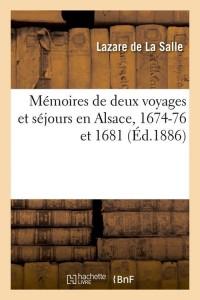 Memoires 2 Voyages Sejours en Alsace ed 1886