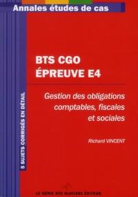 Bts Cgo : Epreuve E4 - Annales Etudes de Cas