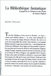 La Bibliothèque fantastique: à propos de la Tentation de saint Antoine de Gustave Flaubert