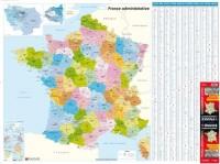 France Administrative : Régions, départements, Cantons - Carte Murale Papier
