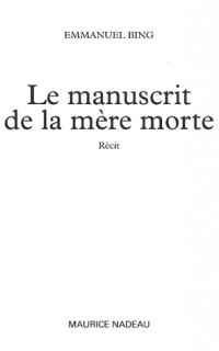 Le manuscrit de la mère morte
