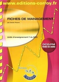 Fiches de management UE 7 du DCG : Fiches de cours
