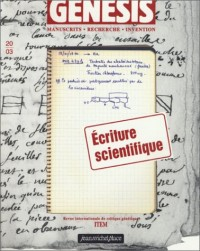 Genesis, n° 1 : Ecriture scientifique