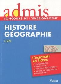Concours de professeur des écoles, épreuve d'histoire-géographie - Admis - Essentiel en fiches - Nouveau concours 201012011